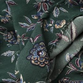 Coupon crêpe Viscose 3m en 145cm imprimé floral vert sapin n° 702